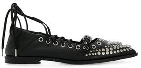 McQ Women's 505743r24301000 Black Leather Flats.