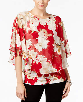 Alfani Printed Flutter-Sleeve Top, Created for Macy's