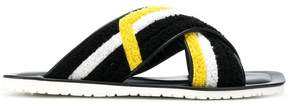 Pollini cross over strap towelling sandals