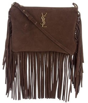 Saint Laurent 2016 Small Monogram Fringe Crossbody Bag - BROWN - STYLE