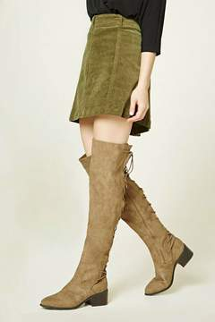 FOREVER 21 Lace-Up Over-the-Knee Boots