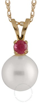 Bella Pearl 14K Gold Sliding Freshwater Pearl and Ruby Pendant