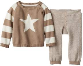 Cuddl Duds Baby Boy Star Sweater & Striped Pants Set
