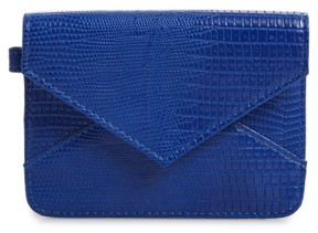 Women's Bp. Embossed Faux Leather Flap Card Case - Blue