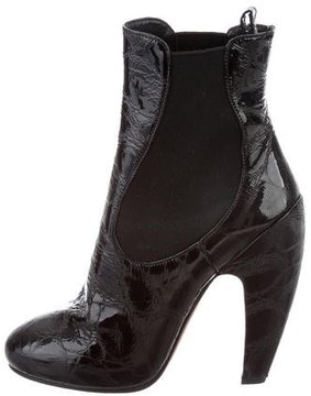 Alaia Embossed Round-Toe Ankle Boots