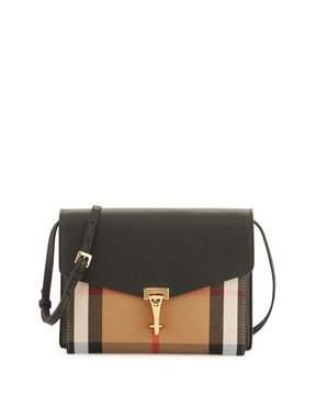 Burberry Check & Leather Small Crossbody Bag, Black - BLACK - STYLE