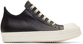 Rick Owens Black and Off-White Leather Low Sneakers