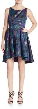 ABS by Allen Schwartz Women's Floral Jacquard Cutout Fit-And-Flare Dress