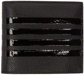 Thom Browne Black Patent Four Bar Billfold Wallet