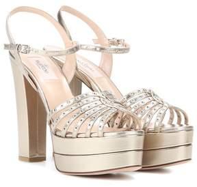 Valentino Embellished leather platform sandals