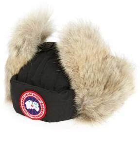 Canada Goose Men's Down Fill Aviator Hat With Genuine Coyote Fur Trim