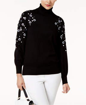 Alfani Embellished Turtleneck Sweater, Created for Macy's