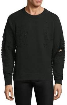IRO Distressed Long-Sleeve Cotton Sweatshirt