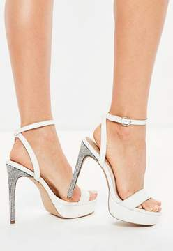 Missguided White Diamante Platform Heeled Sandals