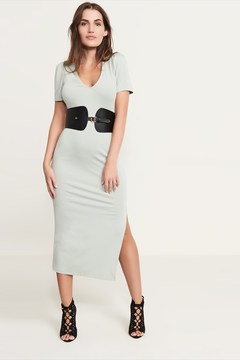 Dynamite V-Neck Midi Dress With Slit