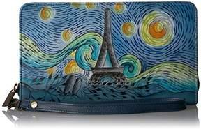 Anuschka Anna by Hand Painted Leather Women's Organizer / Clutch / Wristlet | Love in Paris