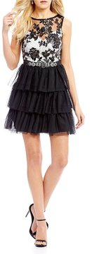 B. Darlin Lace Bodice Tiered Skirt Fit-And-Flare Dress