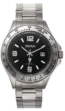 Croton Men's Stainless Steel Quartz Watch with Date and Tachymeter Bezel