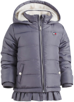 Tommy Hilfiger Hooded Ruffled-Hem Puffer Coat, Toddler Girls (2T-5T)