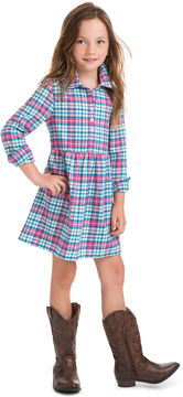 Vineyard Vines Girls Piper Plaid Flannel Shirt Dress