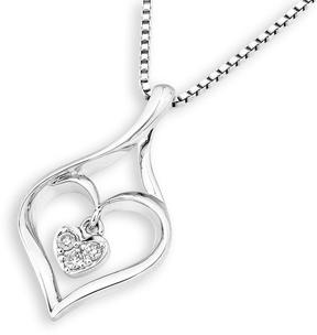Ice Diamond Accented 18K White Gold Open Heart Dangle Pendant Necklace