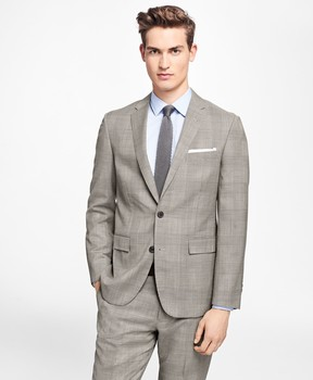 Brooks Brothers Plaid Stretch-Wool Suit Jacket