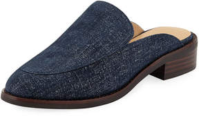 Neiman Marcus Ailey Flat Denim Mule Slide