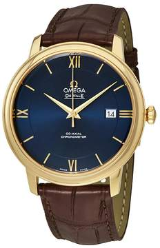 Omega De Ville Prestige Blue Dial Automatic Men's Leather Watch
