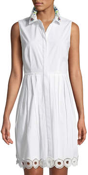 T Tahari Melitta Sleeveless Pleated Shirtdress
