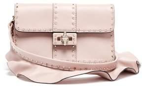 Valentino Rockstud Ruffle Strap Cross Body Leather Bag - Womens - Light Pink