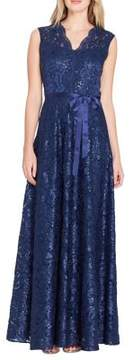 Tahari Arthur S. Levine Embroidered Lace A-Line Gown