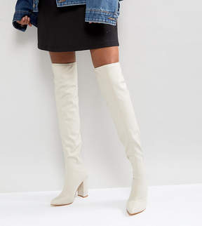 Missguided Pointed Neoprene Over The Knee Heeled Boots