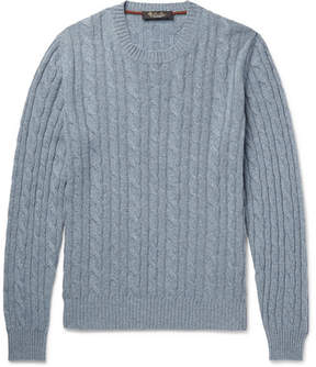 Loro Piana Cable-Knit Mélange Baby Cashmere Sweater