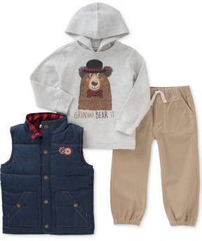 Kids Headquarters 3-Pc. Hooded Shirt, Puffer Vest & Joggers Set, Little Boys (4-7)