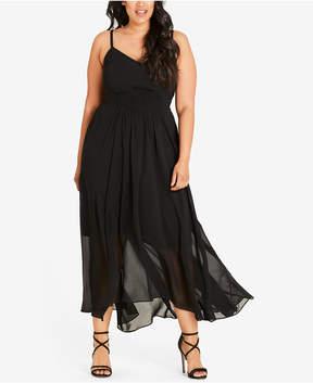 City Chic Trendy Plus Size Shirred Maxi Dress