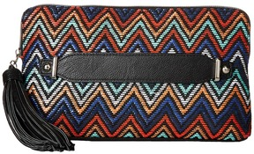 Jessica McClintock - Blake Straw Chevron Clutch Clutch Handbags