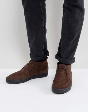 Fred Perry Shields Mid Suede Crepe Sneakers in Brown
