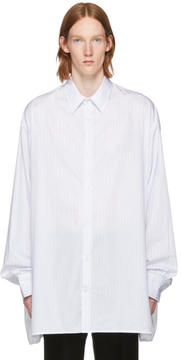 Raf Simons White and Blue Striped Big Shirt