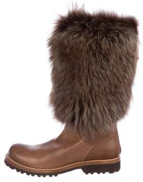 Brunello Cucinelli Fox Fur-Trimmed Mid-Calf Boots w/ Tags
