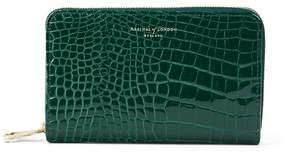 Aspinal of London Midi Continental Clutch Zip Wallet In Evergreen Patent Croc