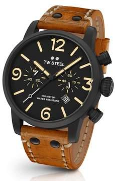 TW Steel Men's Maverick Chronograph Leather Strap Watch, 48Mm