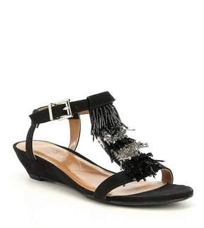 J. Renee Aleesa Microsuede Beaded Fringe Sandals
