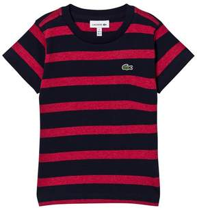Lacoste Red and Navy Stripe Branded T-Shirt