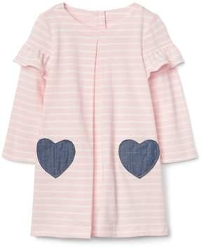 Gap Stripe heart pocket dress