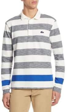 Lacoste Long Sleeve Engineered Jaspe Stripe Rugby Shirt