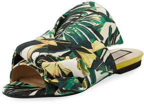 No.21 No. 21 Palm Canvas Flat Bow Slide Sandal