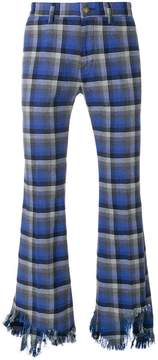 Facetasm flared distressed plaid trousers