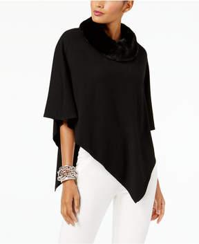 Alfani Faux-Fur-Collar Poncho Sweater, Created for Macy's
