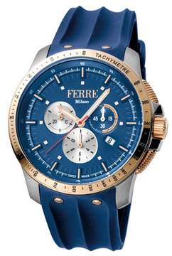 Ferré Milano Men's Swiss Made Swiss Quartz Dark Blue Rubber Strap Watch.
