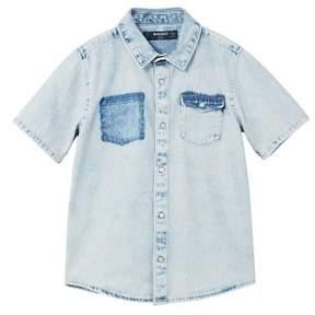 MANGO Washed pocket denim shirt